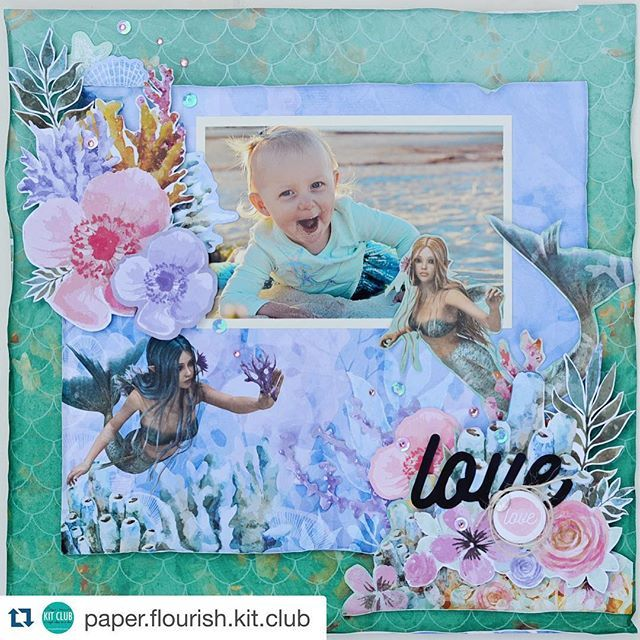 Another amazing May Kit layout by Tracey from @paper.flourish.kit.club using the @kaisercraft Mermaid Tails collection. #scrapbooking #kaisercraft #kaisercraftau #cardmaking #pfkitclub #paperflourishkitclub #acraftclassinabox
