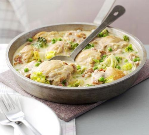 French style chicken with peas and bacon--one pot recipe