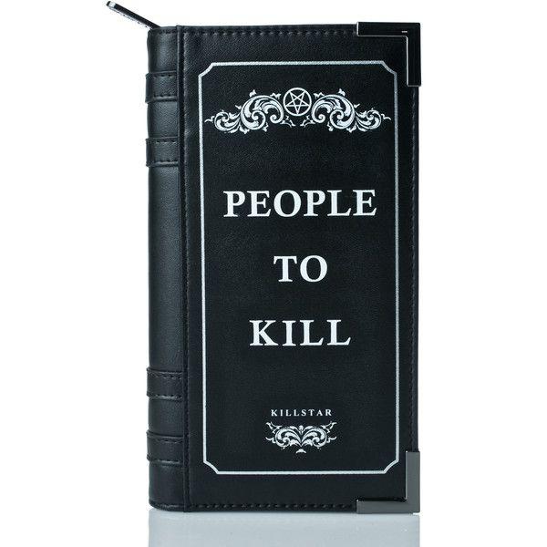 Killstar Kill List Book Wallet (2,410 DOP) ❤ liked on Polyvore featuring bags, wallets, zipper bag, credit card holder wallet, wrap bag, zipper wallet and blue wallet