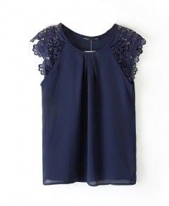 Pure Color Cutout Lace Sleeveless Chiffon Blouse