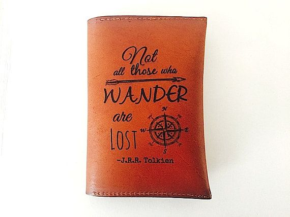 Leather Passport Holder Personalized, Not All Those Who Wander are Lost Passport Case, Student Travel Gift, Monogramed Leather Passport Case