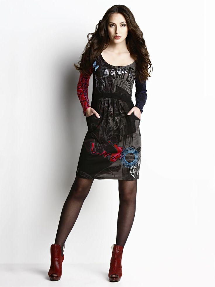 boutique mode femmes desigual robe courte originale noire gris rouge paillettes
