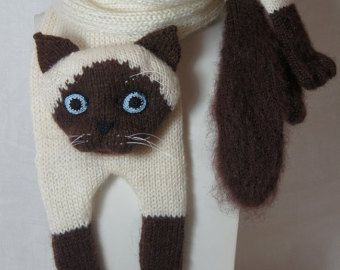 Tabby gris gato bufanda tejer bufanda gris bufanda capucha