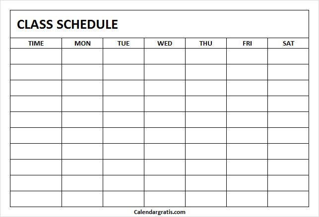 printable class schedule template for school  u0026 college