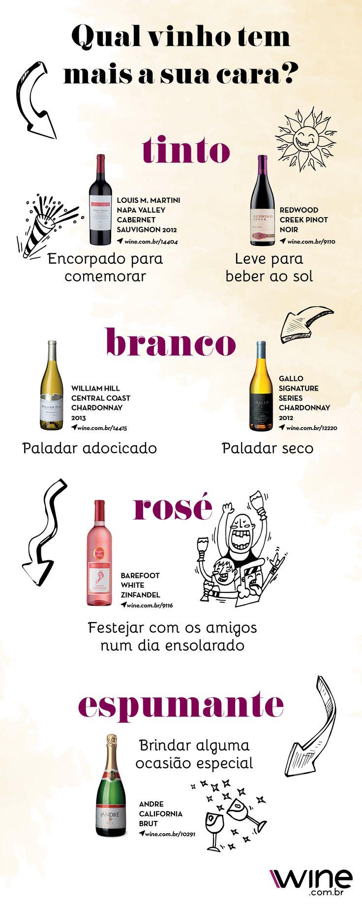 Qual é o seu tipo de vinho preferido? A gente te ajuda a escolher! #wine #vinho #vinhotinto #vinhobranco