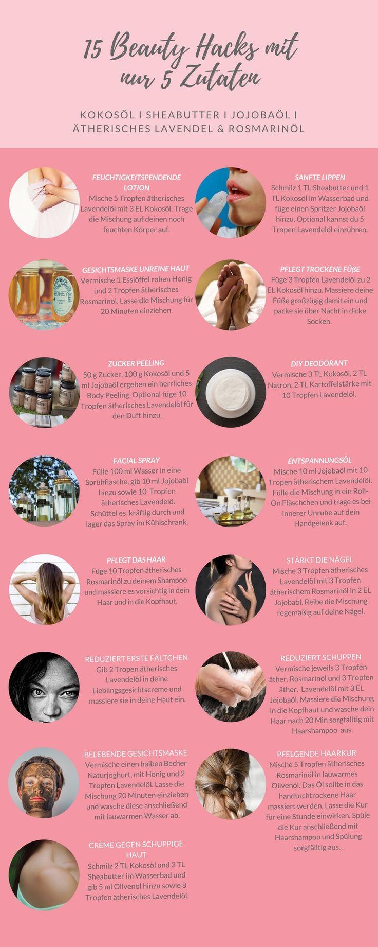 Mit nur 5 natürlichen Zutaten kannst du über 15 verschiedene Körperpflegemittel selber machen. Der Pflegeeffekt von selbst gemachter Kosmetik ist dazu auch noch um ein Vielfaches höher.