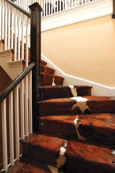 Cowhide runners for staircase
