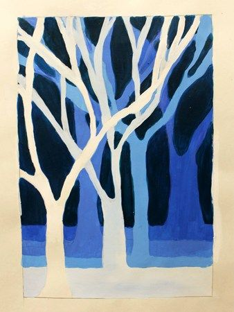 Beginning painiting students created a monochromatic painting of a winter pecan tree grove. Students chose an intermediate color and made tints and shades of that color to complete the painting.