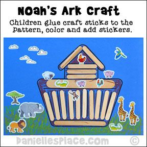 """Noah's Ark Craft Stick or Popsicle Stick Bible Craft Printable for Sunday School   What you will need:                     Jumbo Craft Sticks                      Regular-sized Craft Sticks                      Mini  Craft Sticks                      Paper     White Glue     Small Animals Stickers (These work great because they are very small 1"""" - 2"""")                      Foam Self-Adhesive Animal Shapes                     Noah's Ark Stickers                       or Darice  Bucket of…"""