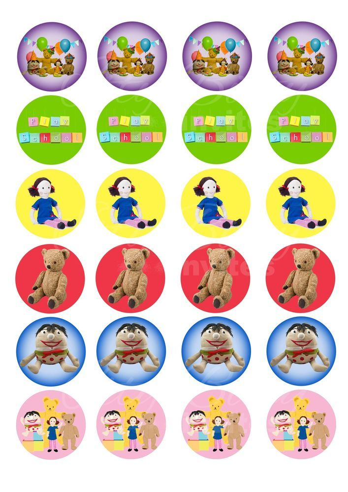 Edible Cupcake Toppers PLAY SCHOOL Cupcake size - Highest Australian Quality