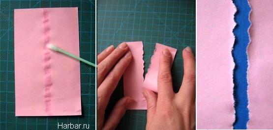 Как сделать рваные края для открытки, цветы