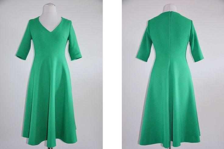 sukienka, weselna sukienka, ciepła sukienka, zielona sukienka, długa sukienka, suknia, suknia na wesele, Burda, sukienka na zimę