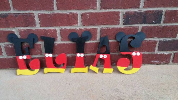 Mickey mouse wooden letters/birthday decoration/ nursery letters