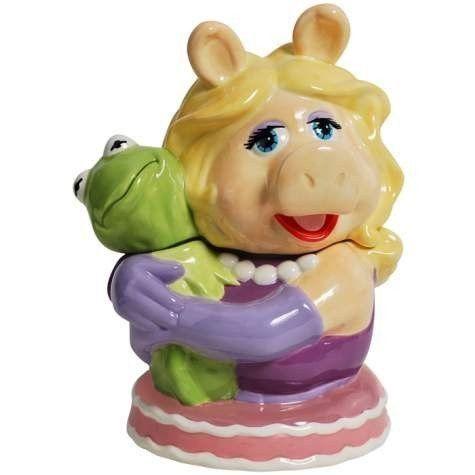 Miss Piggy Hugging Kermit Painted Ceramic Cookie Jar