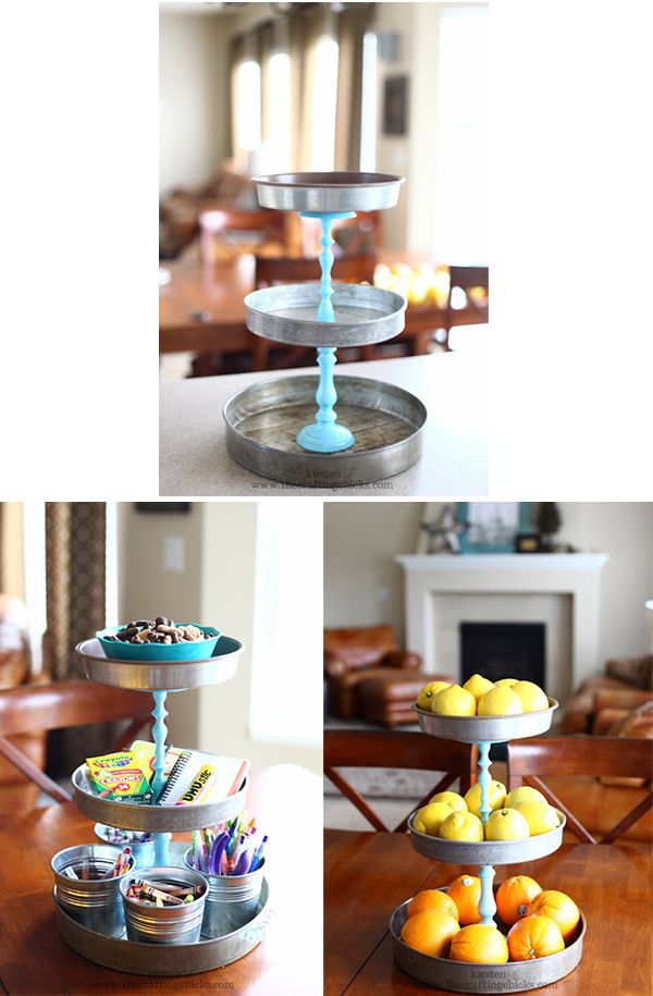 DIY - Tiered Tin Stands - Tins + Candlesticks using Rust-Oleum 2x spray paint and E6000 glue for metal and glass. Full Step-by-Step Tutorial.