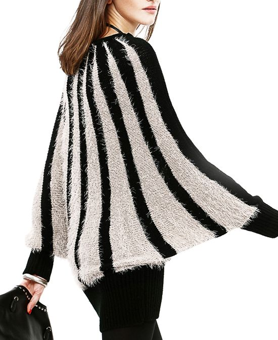 Medium Style Loose Fit Stripe Print Knitwear