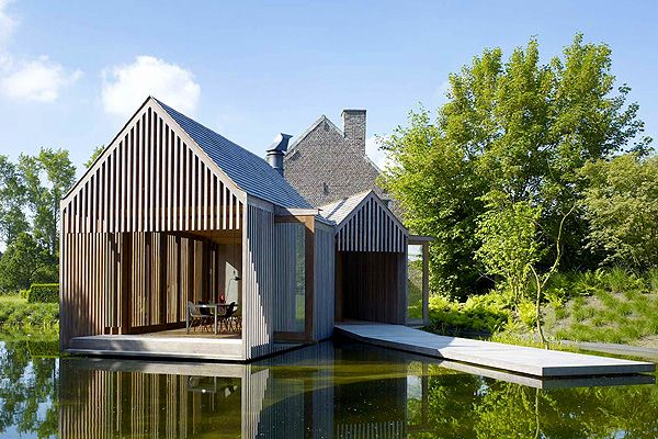 "Refuge House // Wim Goes Architectuur | Afflante.com  Angular architecture ""flowing"" into the  natural environment. Reflections on still water mimic conventional residential form in a playful and organic manner."