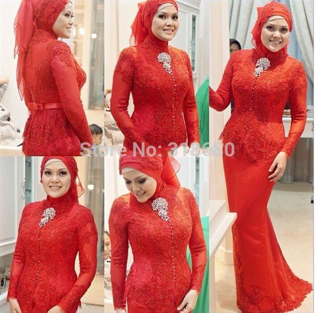 2015 mode haute cou à manches longues formelle femmes photos longues rouge dentelle arabe Kaftan perles musulmane Style arabe robes de soirée