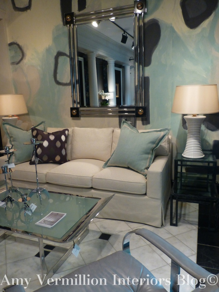 Amy Vermillion Interiors Blog Travis And Co Mint And Cream Pillows Living Room