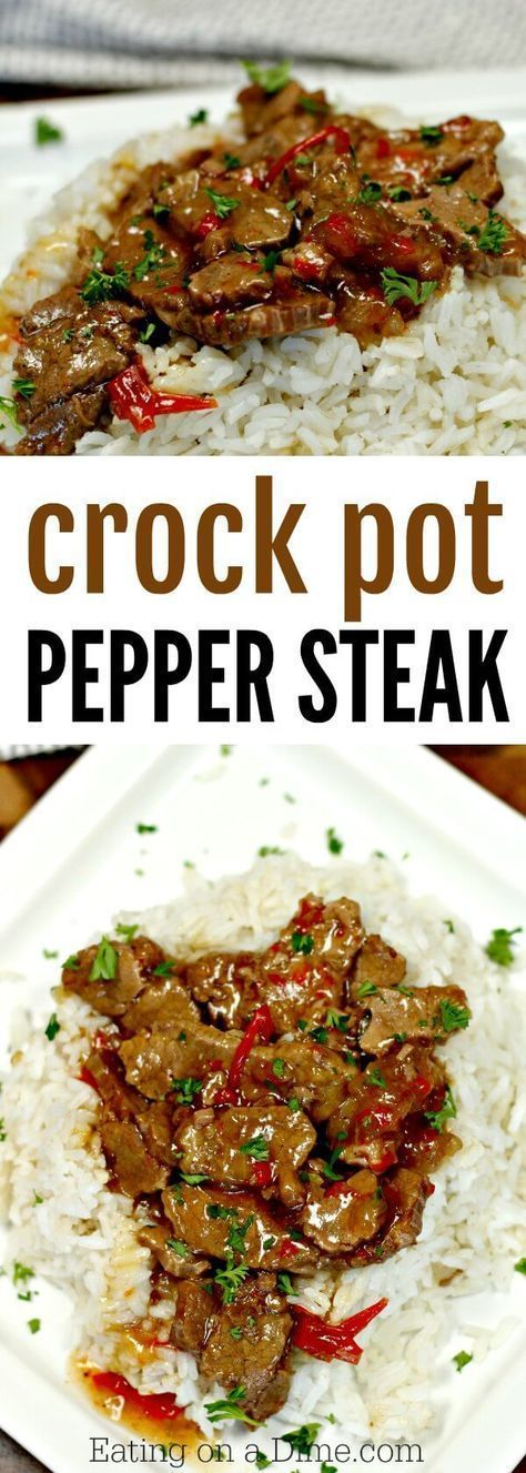 Looking for an easy crock pot recipe? This Crockpot Pepper Steak Recipe is delicious! Easy pepper steak recipe tastes amazing in the crock pot. Try this crock pot Chinese pepper steak recipe today!