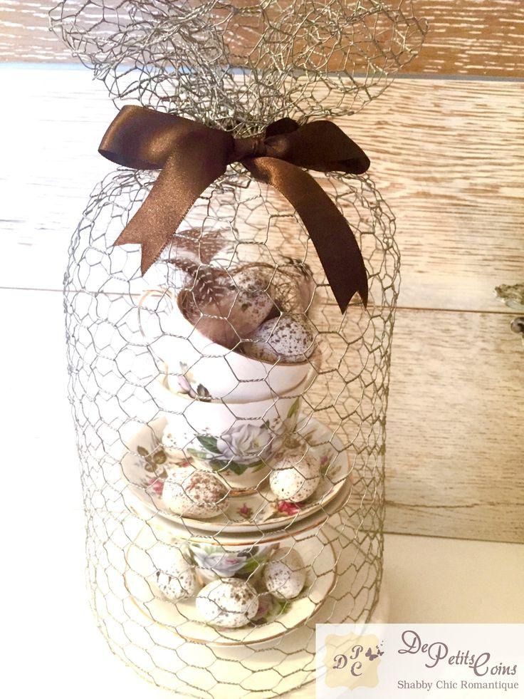 cloche con tazze vintage decorazione pasqua / shabby chic vintage teacups easter decoration