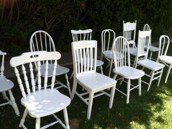 Mix and Match,  Set of 6 Dining Chairs, White, Shabby Chic, Eco-Friendly Spindle Chairs, Kitchen Chair, vintage chair rentals (Los Angeles)