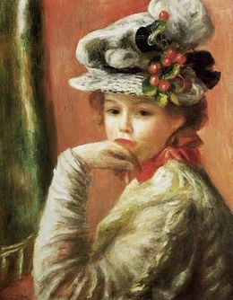 """""""White Hat"""" by Pierre Auguste Renoir (French painter, 1841-1919)"""