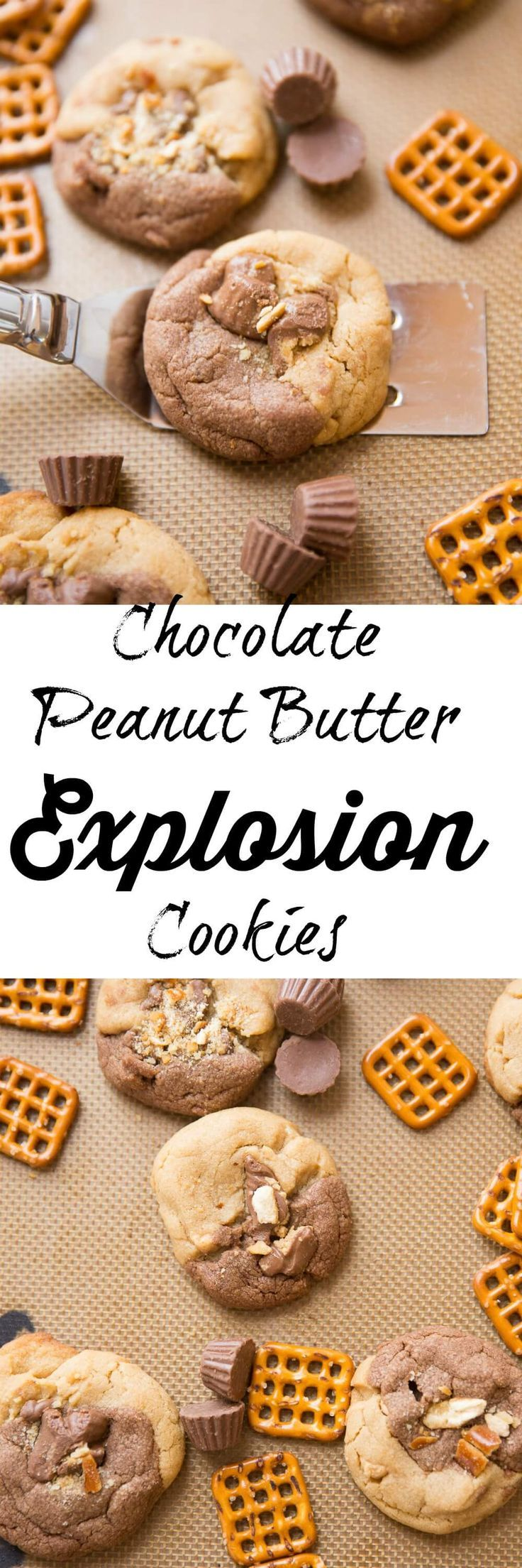 Chocolate and peanut butter are swirled together in these Chocolate Peanut Butter Explosion Cookies!Peanut butter cups, peanut butter chips all make an appearance as do pretzels which add a little saltiness to the sweet mix!