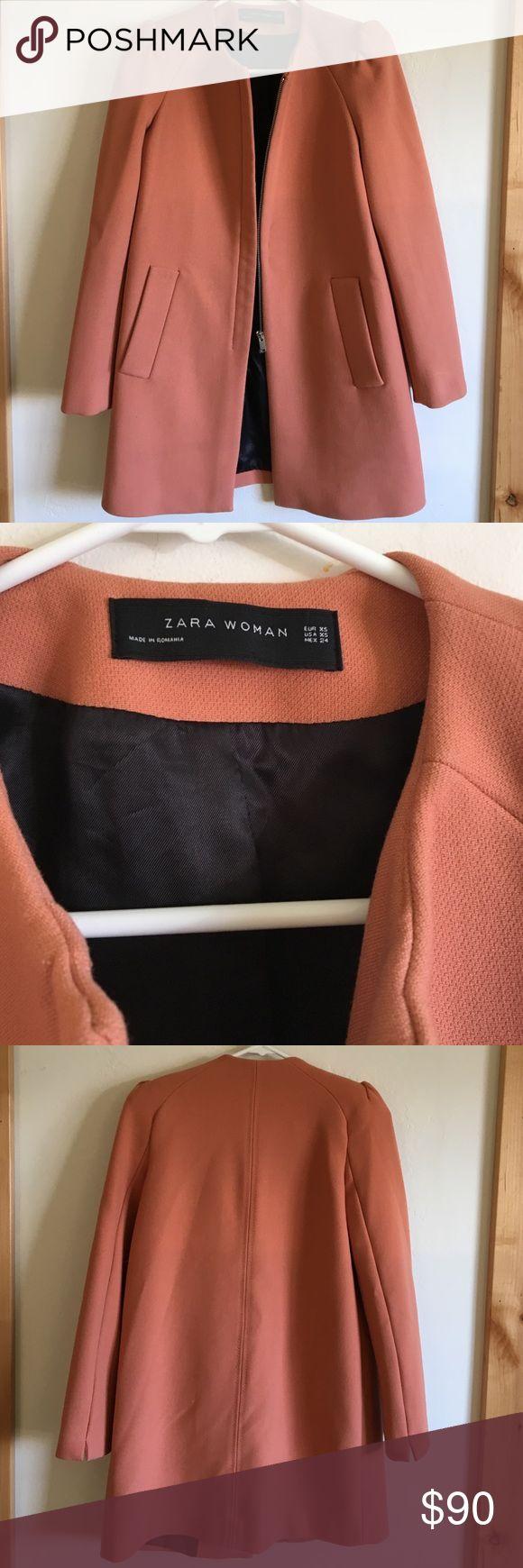 Zara jacket with gathered sleeve. Peach. XS. Zara jacket in peach. Gathered puff sleeve. Size XS. Worn twice. Zara Jackets & Coats