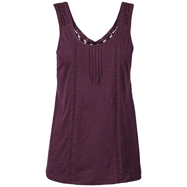 Fat Face Alder Vest ($46) ❤ liked on Polyvore featuring outerwear, vests, blackberry, macrame vest, crochet waistcoat, purple vest, purple waistcoat and sleeveless vest