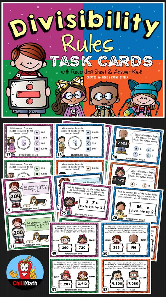 Looking for additional resources on Divisibility Rules for your students? Look no further! This set includes 56 differentiated task cards that cover the different rules of divisibility for numbers 2, 3, 4, 5, 6, 9, and 10. The problems have varying levels of difficulty which will be perfect for differentiation.$