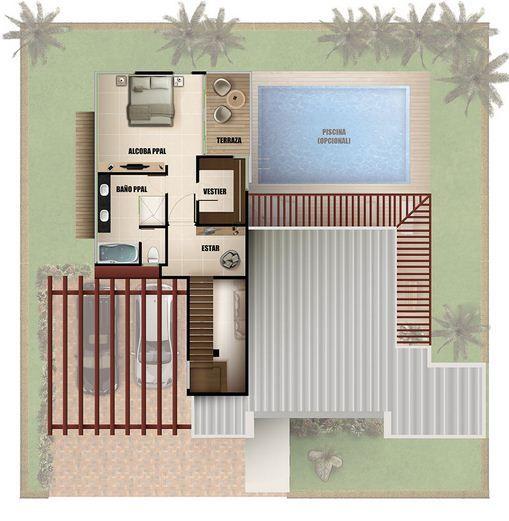 Plano de casa moderna de dos pisos con pileta