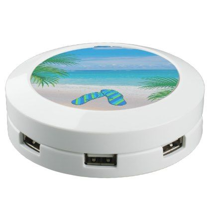 #Tropical Beach with Palm Trees and Flip Flops USB Charging Station - #travel #trip #journey #tour #voyage #vacationtrip #vaction #traveling #travelling #gifts #giftideas #idea