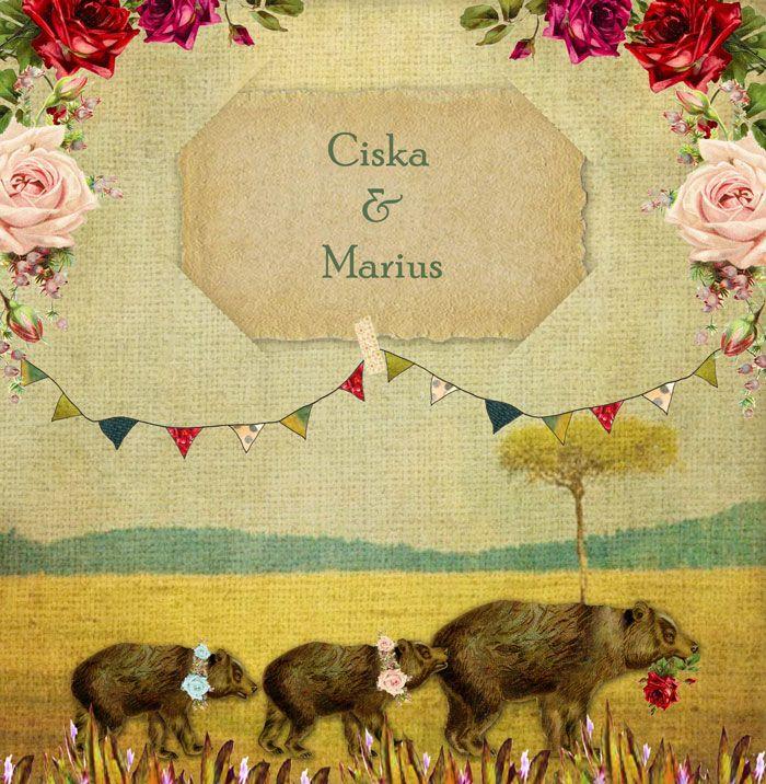 Een vintage geboortekaartje tweeling in de typisch authentieke stijl van Studio POPPY. Moeder beer loopt met haar tweeling door het woud waar weelderige rozen bloeien. Daarbij zijn de slingers opgehangen, het is feest! Er is een tweeling geboren! #geboortekaartje #birthannouncement copyright Studio POPPY | POPPY-Geboortekaartje.nl
