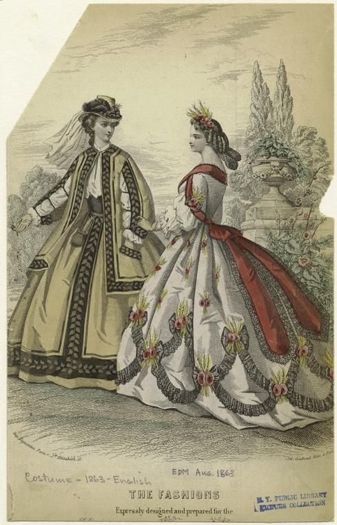 Dresses, Aug 1863 England, The Englishwoman's Domestic Magazine    Love the hat on the left and the one on the right looks like Demeter.....