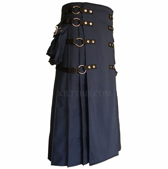 This handcrafted full length navy blue sweatshirt fleece utility kilt is made in the signature Kilt This design. This kilt is perfect for cold weather. The only kilt design made with interchangeable parts. Upgrade now or later. This is a great starter kilt to build with added aprons or upgrade pockets to be removable. This style comes in many types of cloth from duck cloth/canvas to cotton, Black Watch cotton, or leather (as an upgrade additional fees apply). We will work with you by mes...