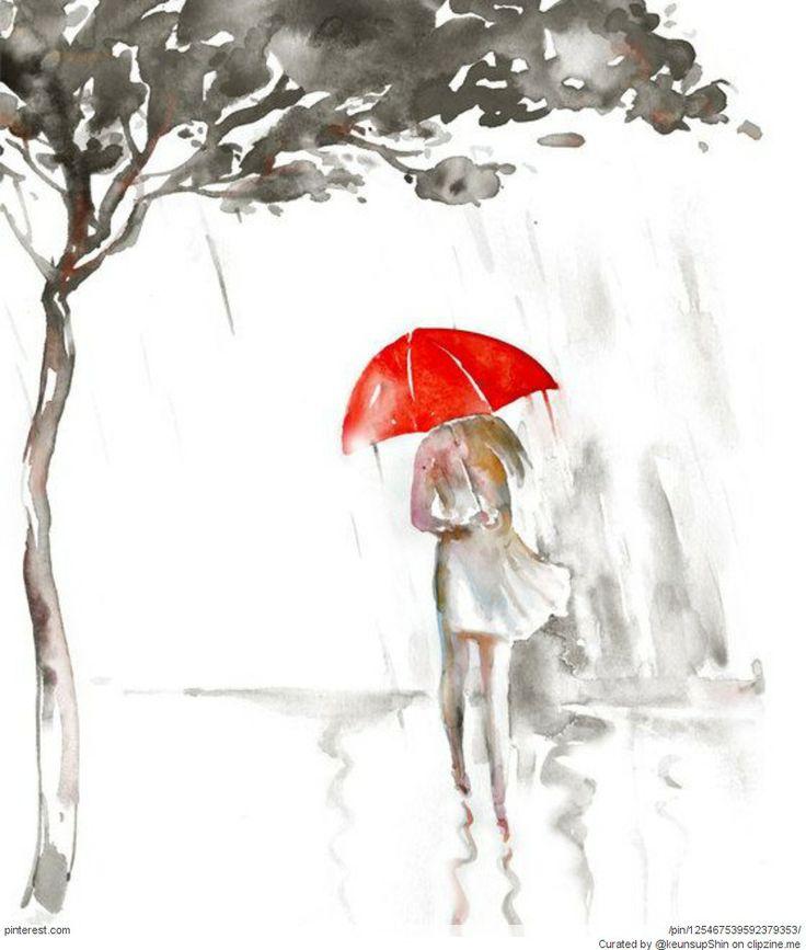 Картинки, рисунок девочка под дождем с зонтиком