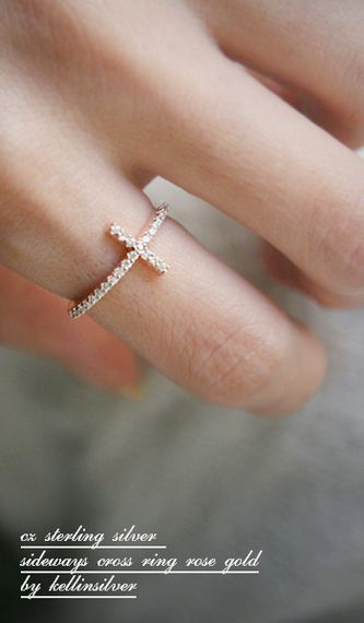 Rose Gold CZ Sideways Cross Ring Sterling Silver from kellinsilver.com