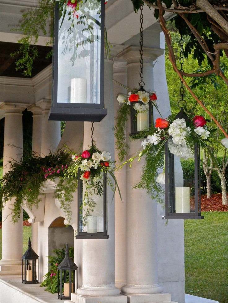 Lanterns With Fresh Flowers Outdoor Wedding Hydrangea