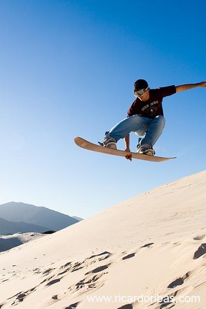 Sandboarding at Joaquina Beach