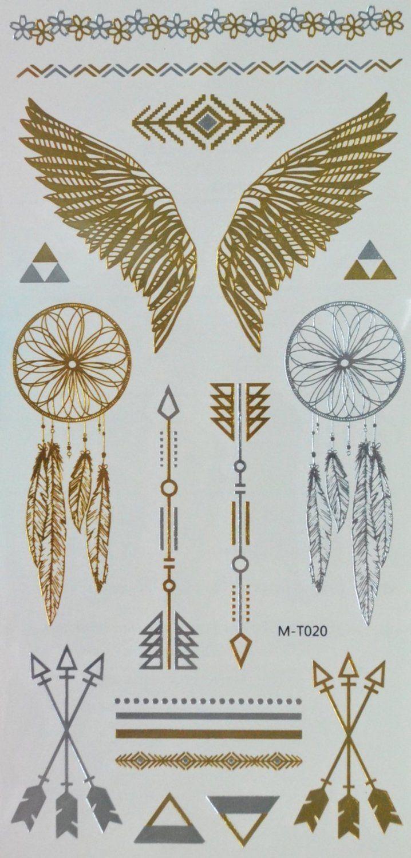 Spestyle Temporary Tattoos Schmuck Goldene und silberne metallische Schmucktätowierungen Schmuck-Design, Federn und Flügel: Amazon.de: Parfümerie & Kosmetik
