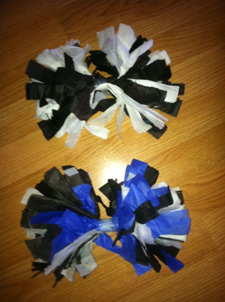 Tissue paper pom poms!- Super easy quick craft for cheerleading camp OR for my little girl who loves to pretend to cheer.