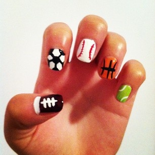 Sports Nails instead of the soccer ball but a volleyball