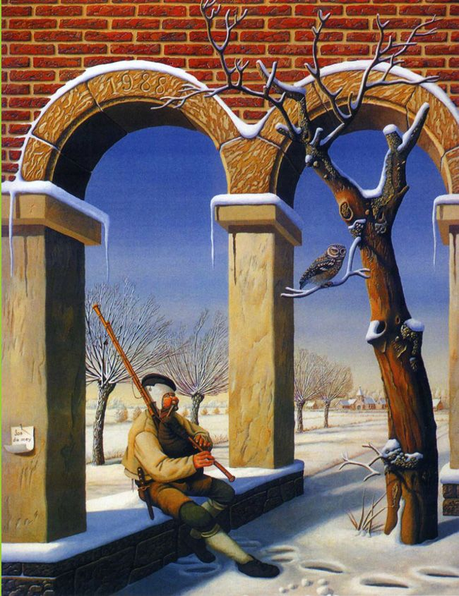 Jos de Mey, Piper setting under Arch by a Tree: