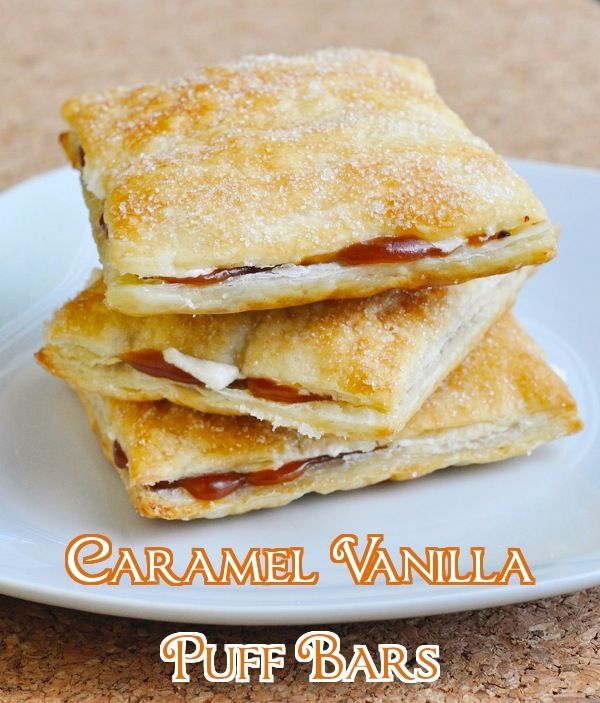 Caramel Vanilla Puff Bars - based upon a classic Canadian snack cake, these beautiful little pastries are a terrific treat for popping into lunchboxes or enjoying with afternoon coffee. Frozen puff pastry makes easy to make too.