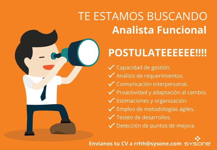 Postulate a nuestra búsqueda laboral de Analista Funcional!! http://www.universobit.com.ar/empleos/analista-funcional-sysone-1000661411.html