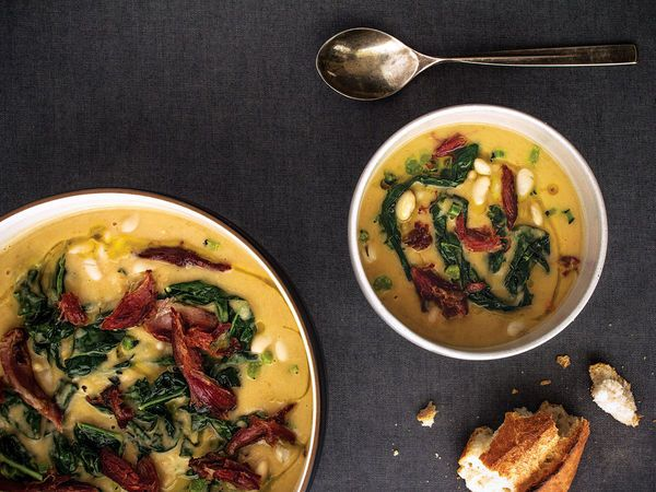 White Bean and Lacinato Kale Soup with Smoked Ham Hock Recipe | SAVEUR