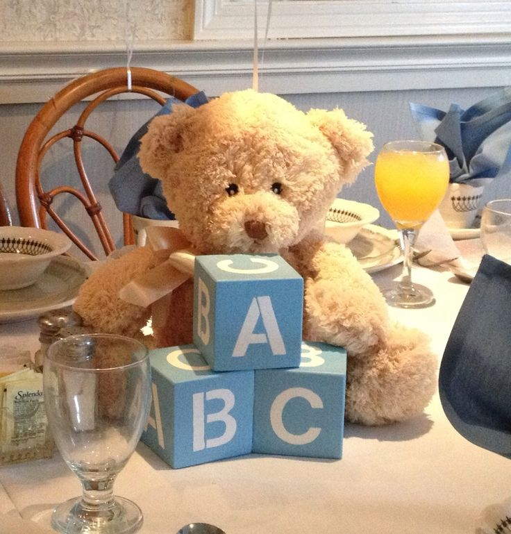 Baby shower centerpiece with homemade blocks