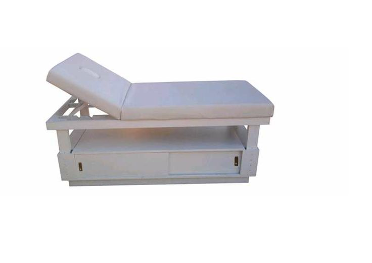 deluxe wooden storage treatment bed available in white gloss, black satin and dark wood finish.