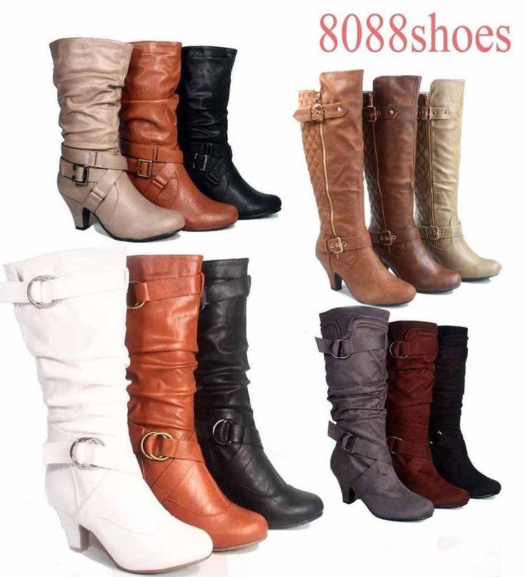 Fashion Low Heel Mid Knee Calf Zipper Dress Boots Women's Shoes Size 5 - 10 NEW    eBay